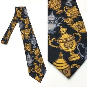 Worlds Greatest Dad Trophy Pattern Mens Necktie